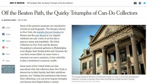 Image of the New York Times article featuring the Rice NW MUseum