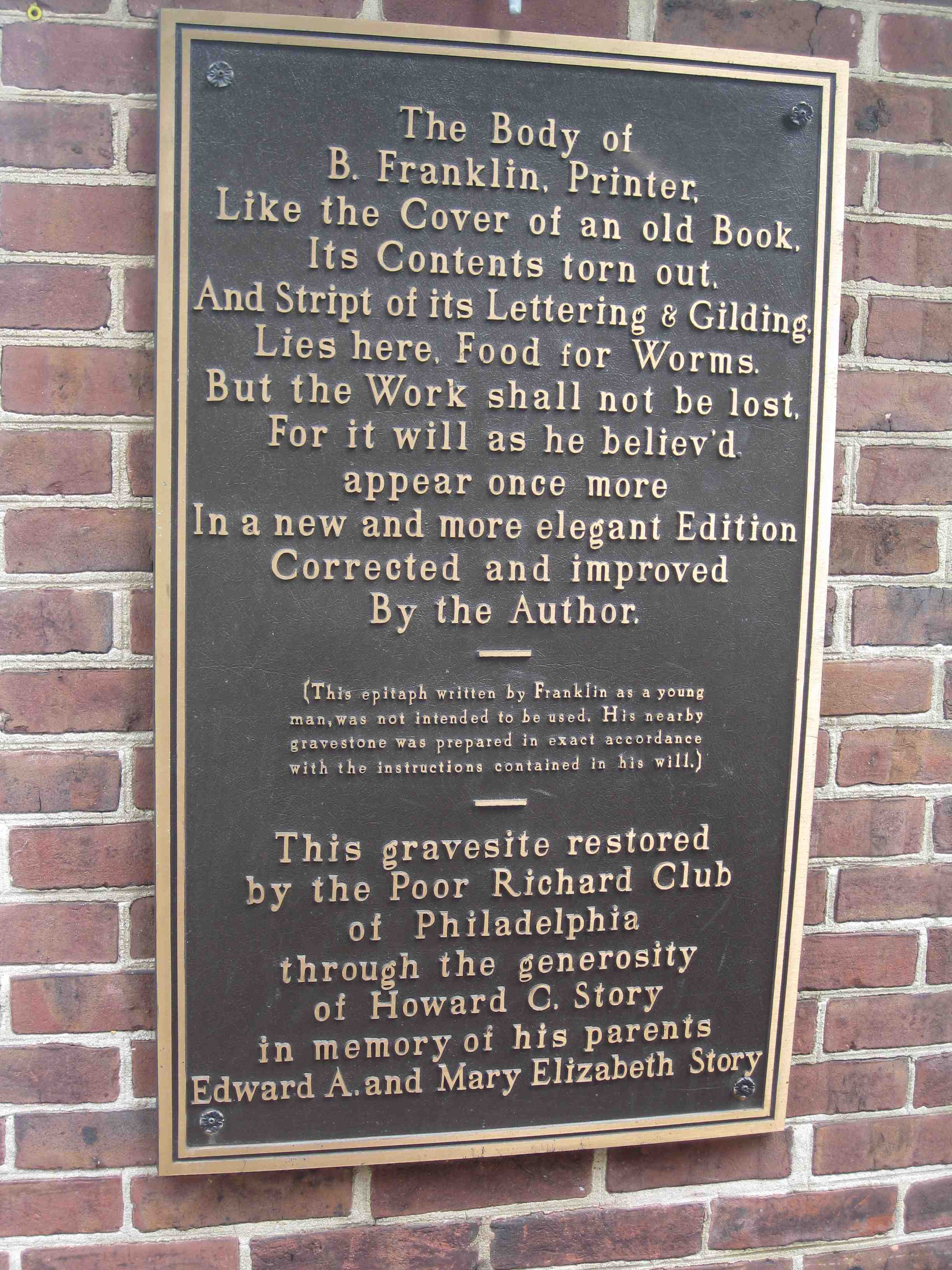 Benjamin Franklin S Grave