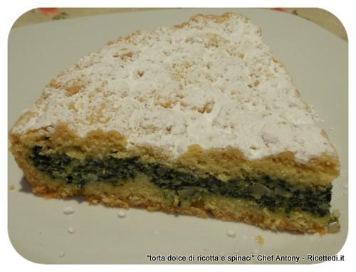 torta dolce di spinaci ricotta e mandorle tritate