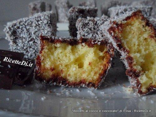 dolcetti al cocco e cioccolato fondente