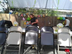 Setting up for the shower
