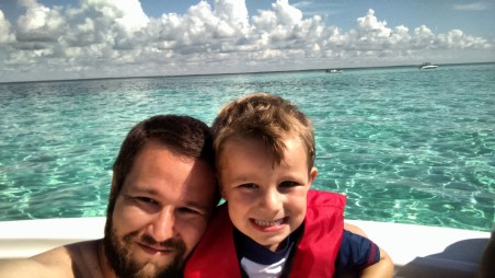 Rylan and I enjoying the sandbar