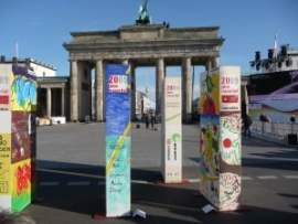 The Brandenburg Gate with dominoes ready to fsll.