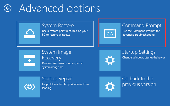 Advanced option command prompt