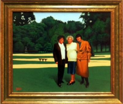 Portrait de trois Dames. Peinture à l'huile par Richard Martens.