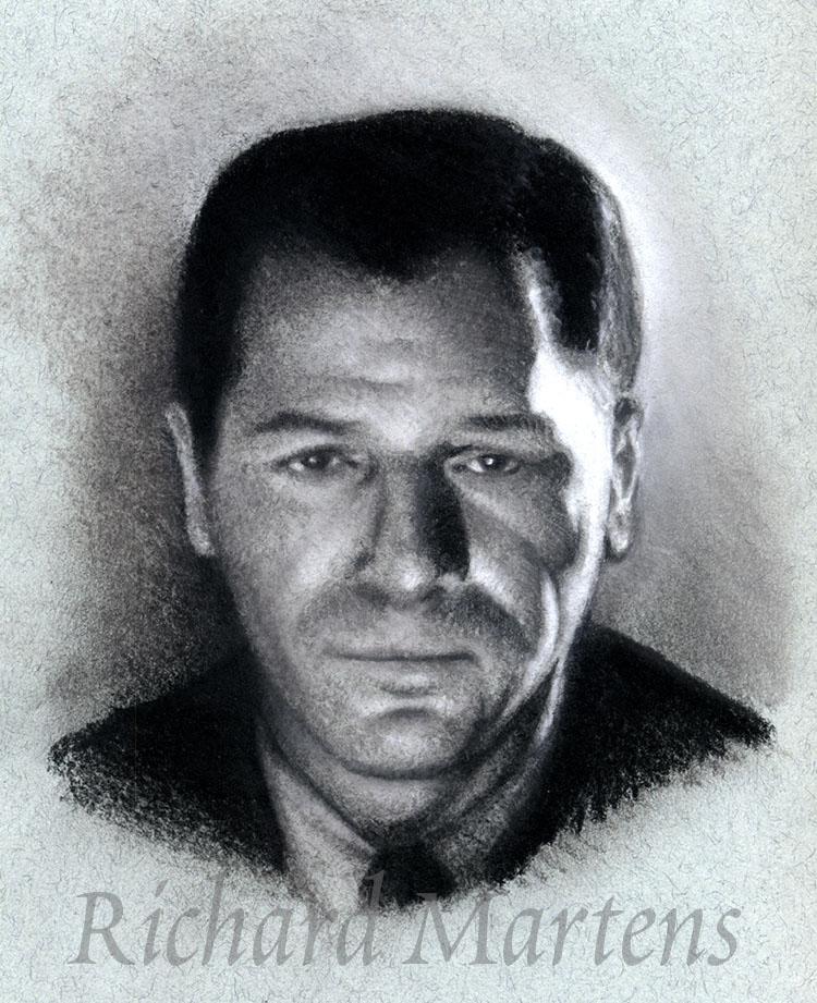 Portrait d'homme, aux deux crayons (pierre noire et craie blanche) sur papier gris pour pastel par Richard Martens.