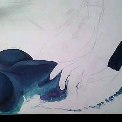 Corps, accord en orange et bleu, étape 1, peinture de Madhatter ©2015