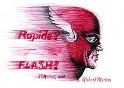 """Dessin au stylo-bille rouge et au noir, par Richard Martens, pour #INKtober2016 nº 1, le personnage de """"Flash"""" pour """"Rapide"""". #thefrenchINKtober #thefrenchINKtober2016 #INKtober #INKtober2016 @jakeparker #RichardMartens"""