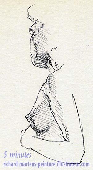"""Dessin de nu pour """"Cueillette"""", au stylo-bille noir, par Richard Martens, pour #INKtober2016 nº 3 b. #thefrenchINKtober #thefrenchINKtober2016 #INKtober #INKtober2016 @jakeparker #RichardMartens"""