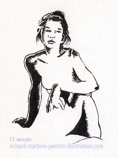 """Dessin de nu pour """"Cueillette"""", au pinceau à encre noire, par Richard Martens, pour #INKtober2016 nº 3 c. #thefrenchINKtober #thefrenchINKtober2016 #INKtober #INKtober2016 @jakeparker #RichardMartens"""
