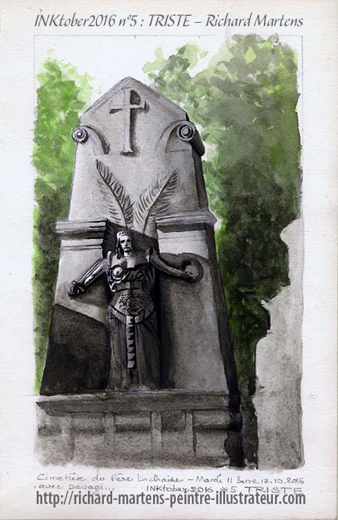 """Dessin d'une tombe monumentale du Père Lachaise pour """"Triste"""", au pinceau-réservoir noir, lavis et aquarelle verte, par Richard Martens, pour #INKtober2016 nº 5. #thefrenchINKtober #thefrenchINKtober2016 #INKtober #INKtober2016 @jakeparker #RichardMartens"""
