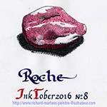 """Dessin d'une roche. Réalisé au stylo-bille noir & au rouge, avec un lavis gris sur papier blanc, par Richard Martens, pour #INKtober2016 nº 8 : """"Roche"""". #thefrenchINKtober #thefrenchINKtober2016 #INKtober #INKtober2016 @jakeparker #RichardMartens"""