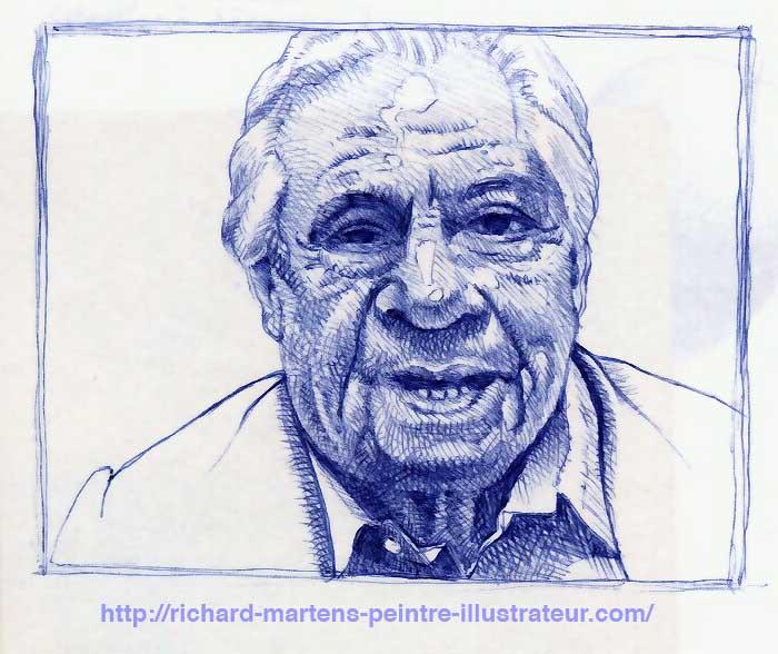Portrait de Michel Galabru, réalisé au stylo-bille bleu, à partir d'une photo, par Richard Martens.