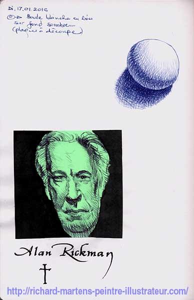 Portrait d'Alan Rickman, réalisé au stylo-bille noir, à partir d'une photo, sur un Post-it vert, et d'une sphère au stylo-bille bleu par Richard Martens.