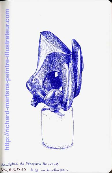 Dessin de Richard Martens, réalisé au stylo-bille bleu, à partir d'une photo d'une sculpture de François Bouché.
