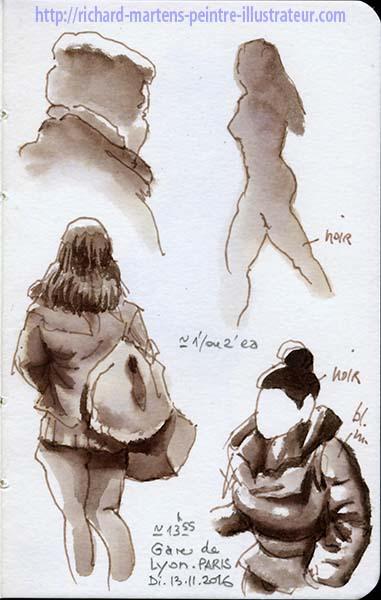 Dessins et esquisses au lavis, devant la Gare de Lyon, par Richard Martens.