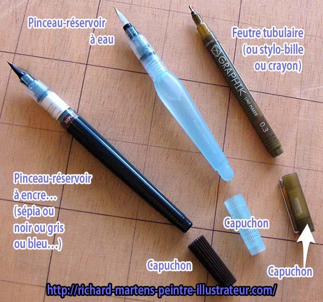 Trois outils et leur capuchon : feutre tubulaire, pinceau-réservoir à encre et pinceau-réservoir d'eau. Photo annotée : Richard Martens.