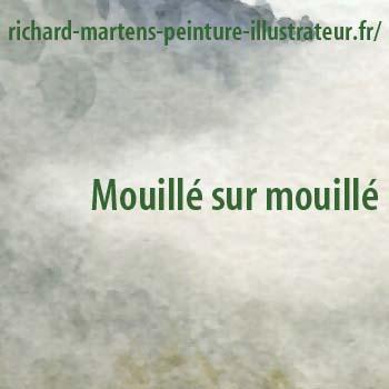 """Aquarelle posée en """"mouillé sur mouillé"""", par Richard Martens."""