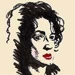 """Un portrait directement au pinceau-réservoir à encre noire, par Richard Martens, du personnage éponyme du film """"Camille redouble"""", le 22 mai 2016."""