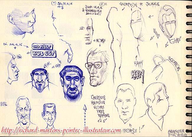 Dessins et caricatures dessinés par Richard Martens, lors de séries télévisuelles et d'un film, les 14, 15 et 24 avril 2016.