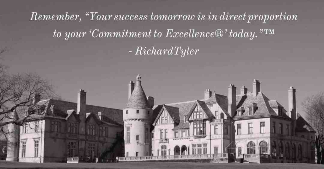 """Mansions - Newport Rhode Island - Remember, """"Your success tomorrow is in direct proportion to your 'Commitment to Excellence®' today.""""™ - Richard Tyler - black and white version"""