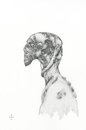 "Earworm, 2014, ink, 12"" x 8"""