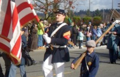 Mike in the Color Guard at a parade.