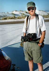 Your host with his cameras at White Sands National Monument, summer 1999