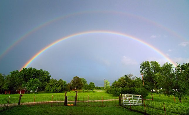 Double rainbow, our front yard, spring 2006. I received more compliments on this one image than on all the rest I published that year.