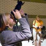 Devon Liljequist and Kathy Ingram take aim at some skylight reflections.