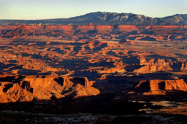 In my many visits to Grand View Point at Canyonlands in Utah, I have never seen it as clear as it was on this evening in March, 2004. The detail and expression of vast distance in this image is simply amazing.