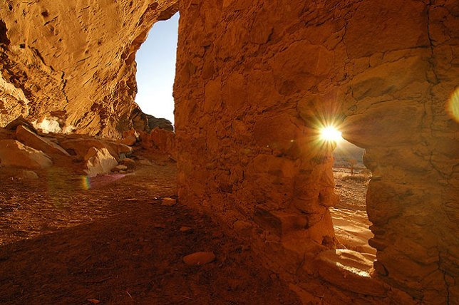 Sunrise through door, Gallo Cliff Shelter, Chaco Canyon, New Mexico, November 2009; if you haven't been to Chaco, plan a camping trip and spend a few days. It is one of the quietest, most contemplative places I have ever been. This image, though, still didn't make the top five.