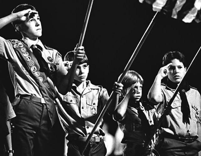 Boy Scouts present the colors, Ada Cougar football game, 1988