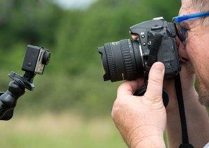 Scott uses my Tokina fisheye to photograph one of his GoPro cameras. Scott loves the fisheye look.