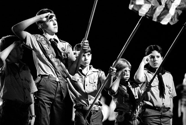 Boy Scouts present the colors at the first Ada Cougars football game I ever covered, October 28, 1988. It was still quite early in my career, but it was already very clear to me that fast films (in this case, Kodak T-Max P3200), even when they are grainy, made images like this possible. This image was later awarded first place in feature photos by the Oklahoma Press Association.