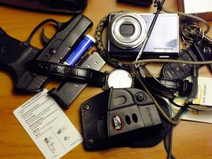 At the end of the day, I empty my pockets and dump everything on the motel night stand: it's all small and none of it gets in the way.