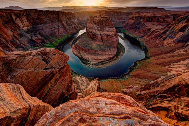 This is an April 2015 sunset shot of Horseshoe Bend near Page, Arizona.