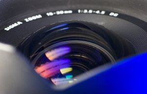 The Sigma 15-30mm f/3.5-4.5 is prone to ghosting because of its huge, bulging front element. The ghosts are usually blue because of the blue multicoating on the surface of the element.