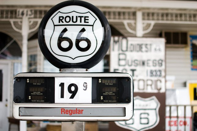 The closed and dilapidated Totem Pole gift shop featured these handsome fuel pump globes, tributes to the history of Route 66.
