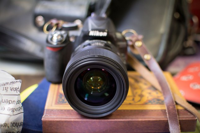 This is the Sigma 35mm f/1.4 on my friend's camera. It is much heavier, larger, and more expensive than my own AF-S Nikkor 35mm f/1.8. Time and her work will tell if this lens is a champ.