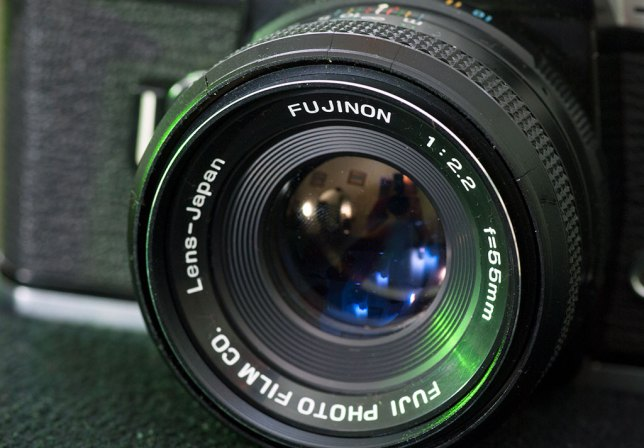 "Though not a large-aperture contender, the 55mm f/2.2 lens that came with the Fujica was, like almost all ""normal"" lenses, plenty sharp and easy to use."
