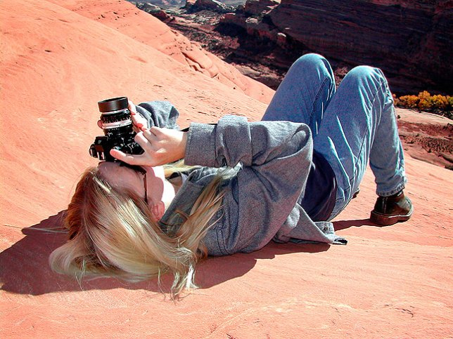 Jamie makes pictures with the Nikkormat EL in Arches National Park, Utah in November 2002. Since then, this camera has been in her possession, which pleases us both.