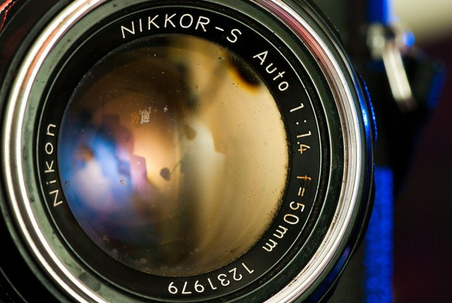 The Nikkormat wears a 1960s-era 50mm f/1.4 Nikkor lens. The yellow hue of the front element indicates it was single-coated, but over the years I found that this lens was very sharp, and very tough.