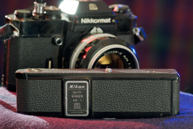 Despite being heavy and awkward to hold, the AW-1 autowinder for the Nikkormat EL was well-made and dependable.