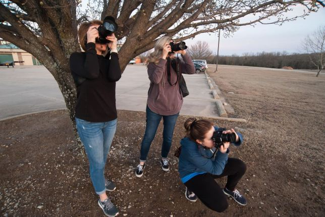 My crew takes time to set up under a pear tree. It yielded the best photographic fruits.