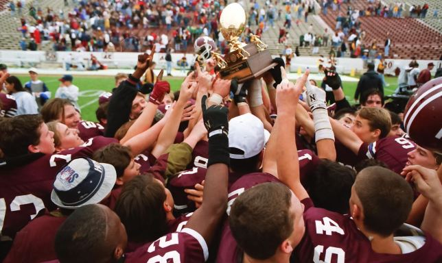 The Ada Cougars claim a state championship trophy at Owen Field at Oklahoma University in 1994. Since I have been at The Ada News, the Cougars have brought home five football championship trophies.