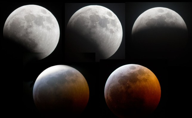 The moon moves into the shadow of the earth in this 75-minute composite image of the lunar eclipse Sunday, Jan. 20, 2019, viewed from the Pontotoc Technology Center in Ada.