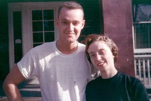Joe and Sarah Jo pose for a picture at their first home in Columbia, Missouri, where I was born, in about 1957.