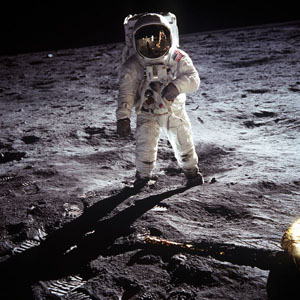 "Shot of astronaut ""on the moon."" According to Negative Guy, ""the light is so f---ing fake, man."""