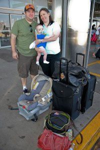 Read to fly, Tom and Chele pose with our grandson Paul at Wil Rogers World Airport in Oklahoma City this morning.